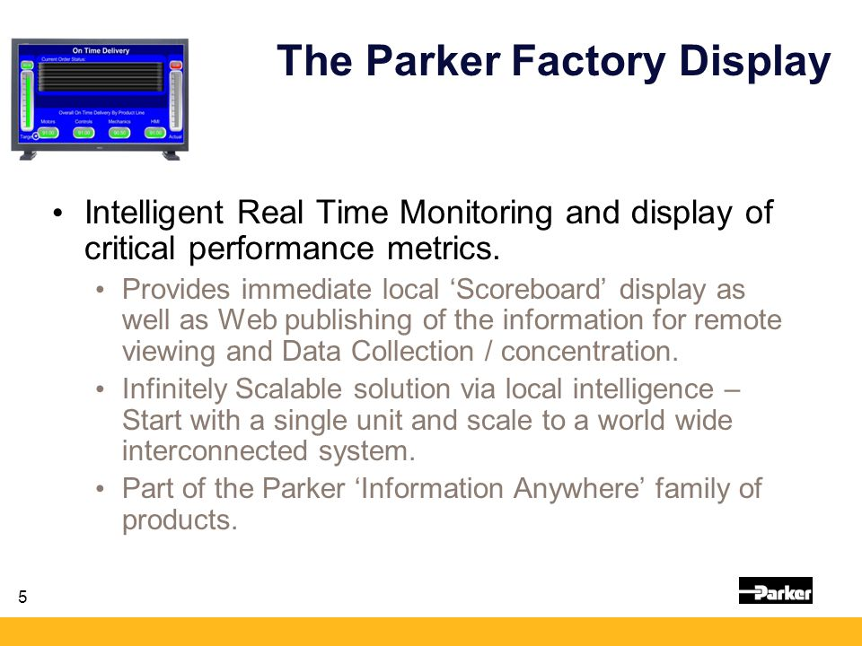 5 The Parker Factory Display Intelligent Real Time Monitoring and display of critical performance metrics. Provides immediate local 'Scoreboard' displ