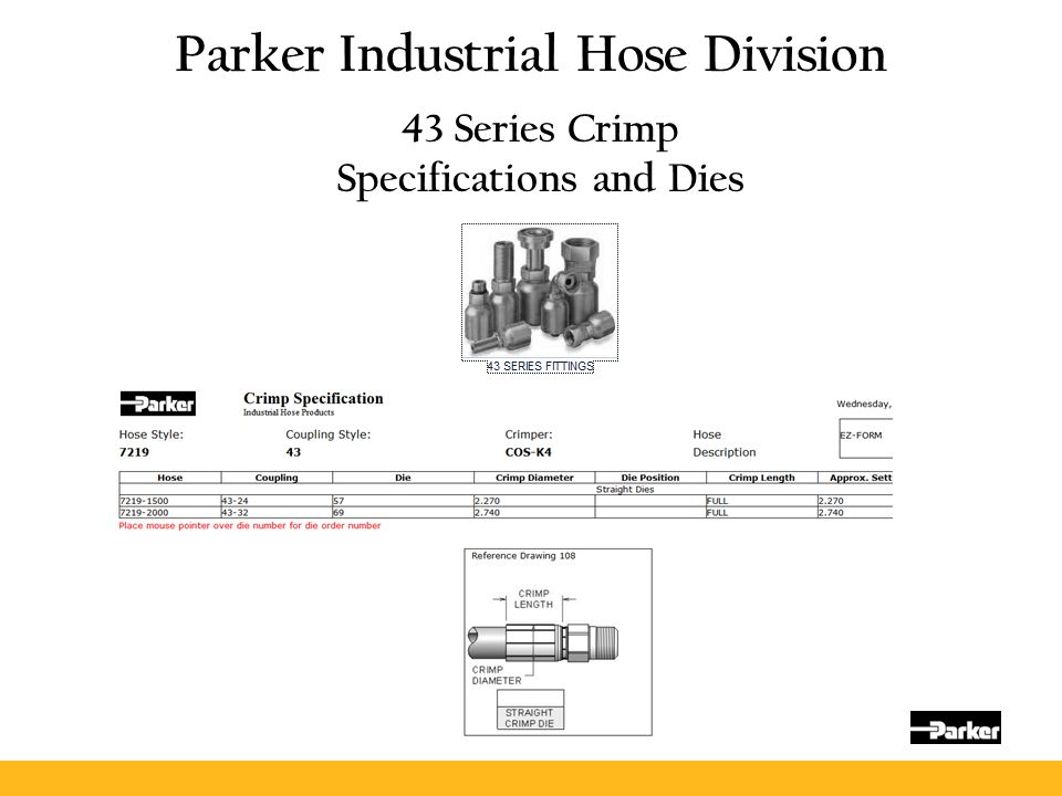 Parker Industrial Hose Division 43 Series Crimp Specifications and Dies