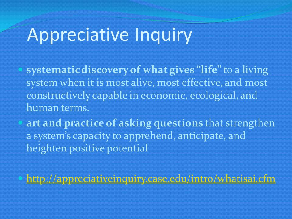 Appreciative Inquiry systematic discovery of what gives life to a living system when it is most alive, most effective, and most constructively capable in economic, ecological, and human terms.