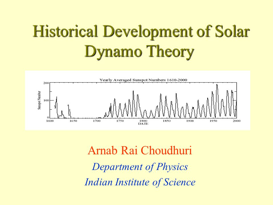 Historical Development of Solar Dynamo Theory Historical Development of Solar Dynamo Theory Arnab Rai Choudhuri Department of Physics Indian Institute of Science