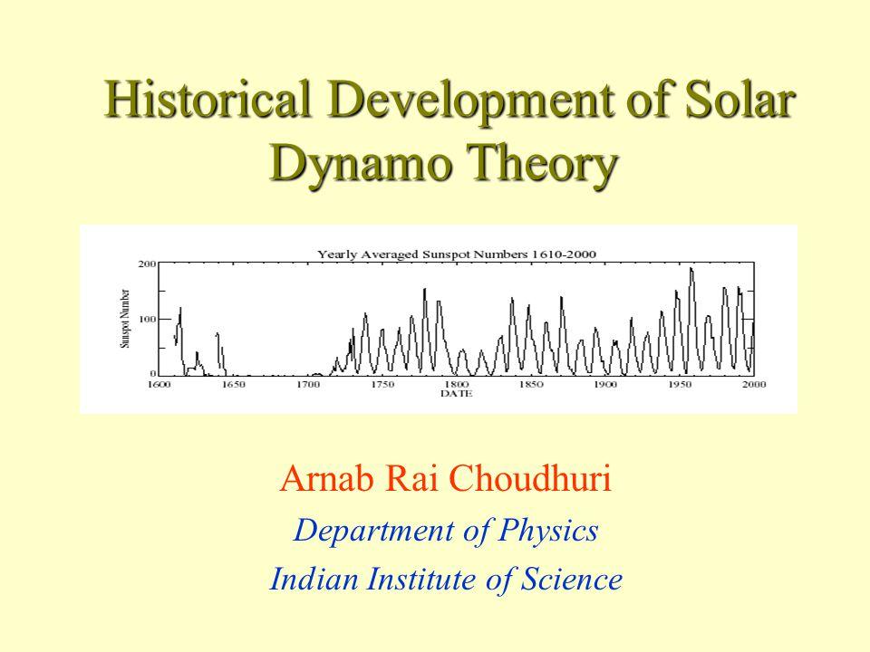 Joy's Law (1919) – Tilts of bipolar sunspots increase with latitude Figure from D'Silva & Choudhuri (1993) – First quantitative explanation.