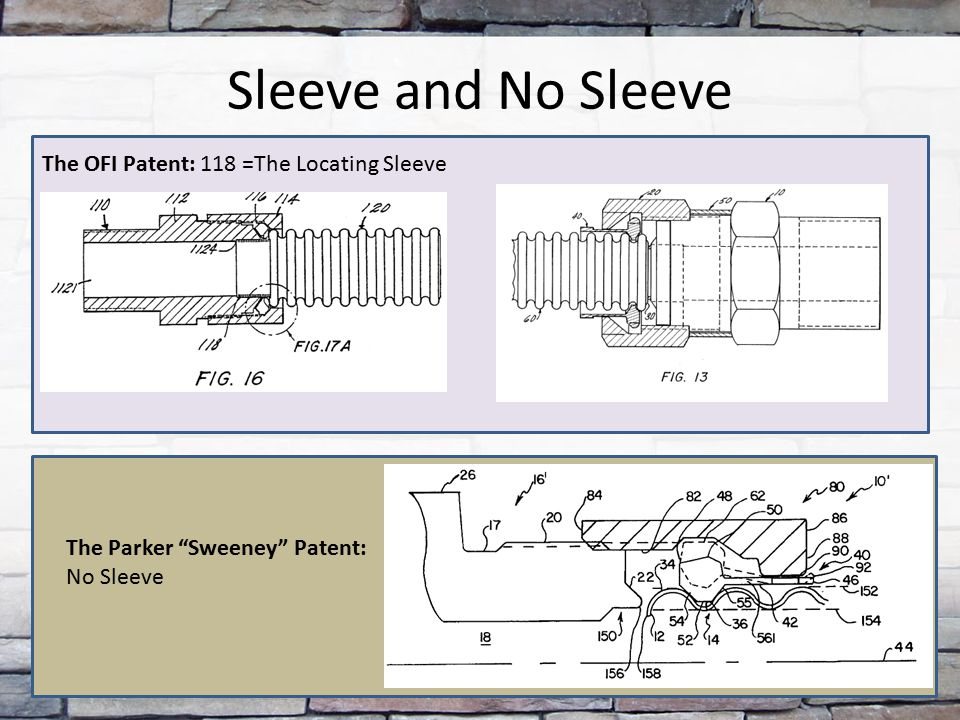 "Sleeve and No Sleeve The Parker ""Sweeney"" Patent: No Sleeve The OFI Patent: 118 =The Locating Sleeve"