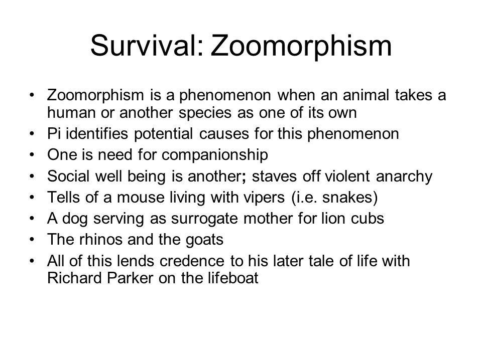 Survival: Zoomorphism Zoomorphism is a phenomenon when an animal takes a human or another species as one of its own Pi identifies potential causes for this phenomenon One is need for companionship Social well being is another; staves off violent anarchy Tells of a mouse living with vipers (i.e.