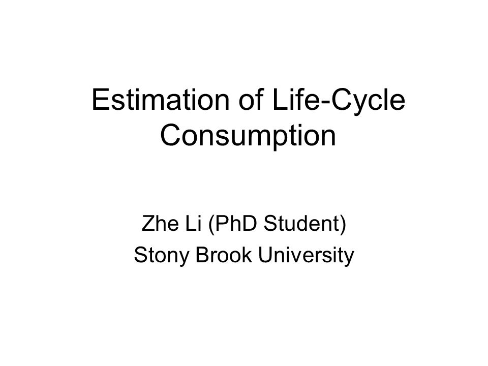 Estimation of Life-Cycle Consumption Zhe Li (PhD Student) Stony Brook University