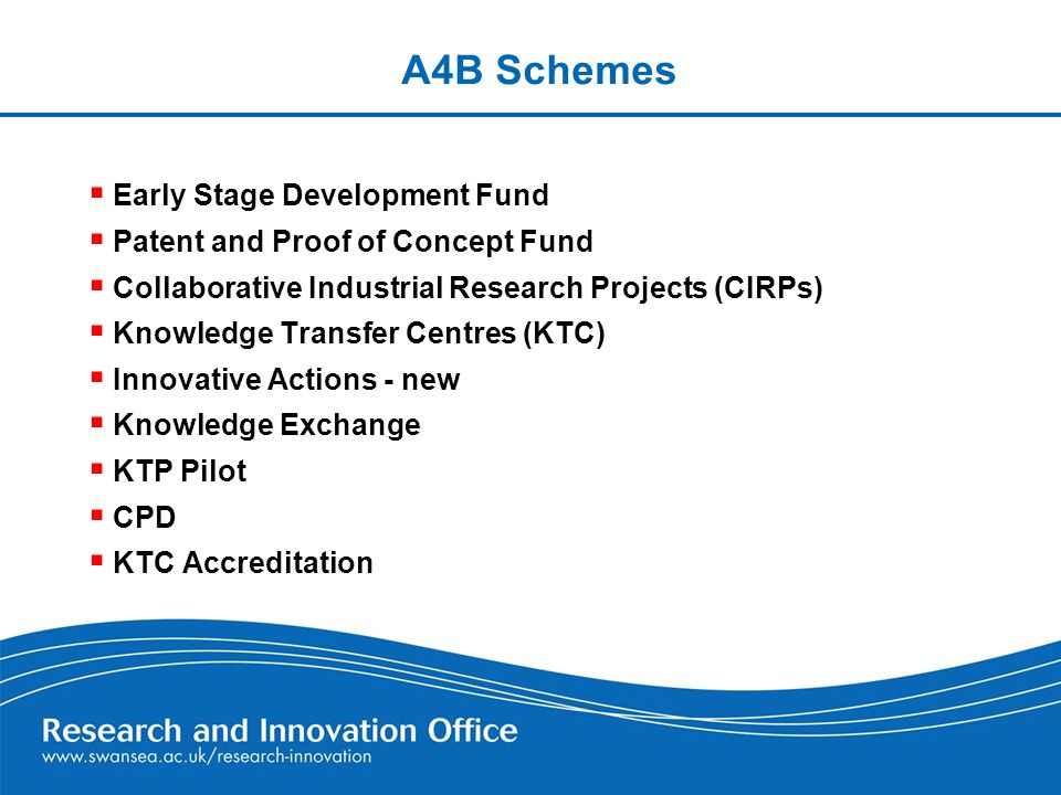 A4B Schemes  Early Stage Development Fund  Patent and Proof of Concept Fund  Collaborative Industrial Research Projects (CIRPs)  Knowledge Transfer Centres (KTC)  Innovative Actions - new  Knowledge Exchange  KTP Pilot  CPD  KTC Accreditation