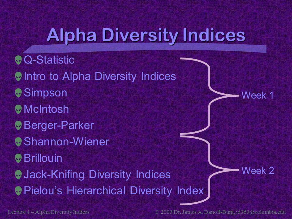 Lecture 4 – Alpha Diversity Indices© 2003 Dr. James A. Danoff-Burg, jd363@columbia.edu Alpha Diversity Indices  Q-Statistic  Intro to Alpha Diversit