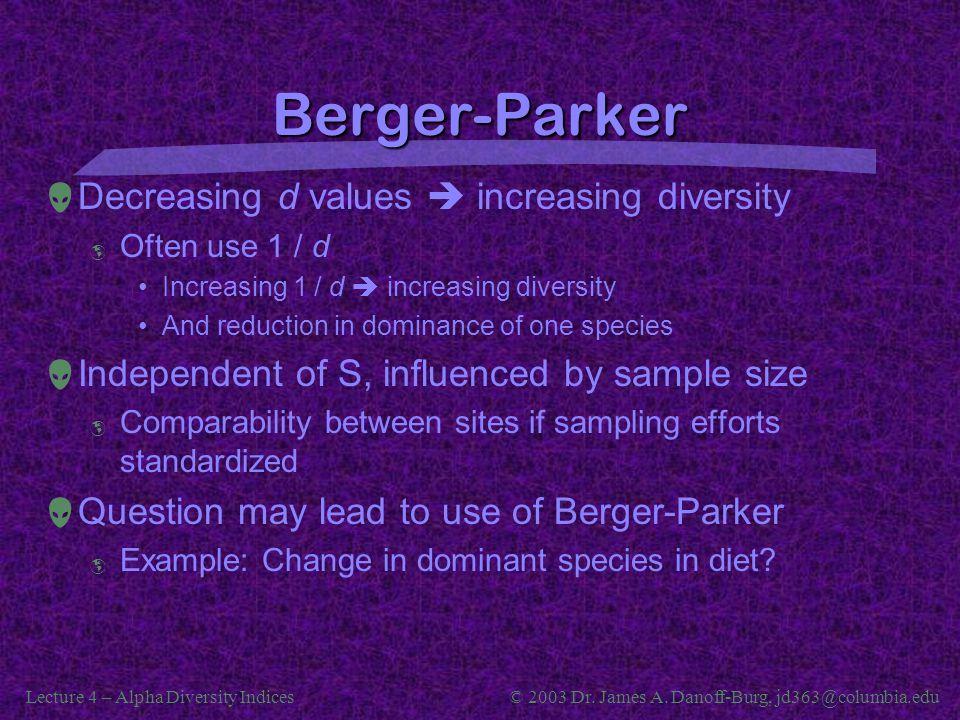 Lecture 4 – Alpha Diversity Indices© 2003 Dr. James A. Danoff-Burg, jd363@columbia.edu Berger-Parker  Decreasing d values  increasing diversity  Of