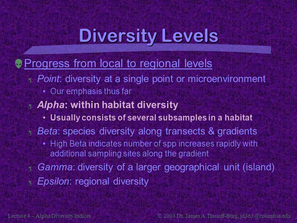 Lecture 4 – Alpha Diversity Indices© 2003 Dr. James A. Danoff-Burg, jd363@columbia.edu Diversity Levels  Progress from local to regional levels  Poi