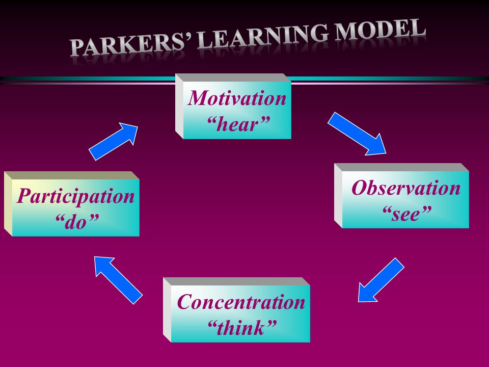 "Observation ""see"" Participation ""do"" Concentration ""think"" Motivation ""hear"""