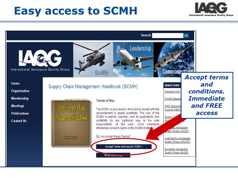Easy access to SCMH Accept terms and conditions. Immediate and FREE access