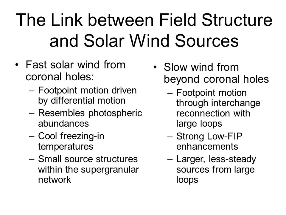 The Link between Field Structure and Solar Wind Sources Fast solar wind from coronal holes: –Footpoint motion driven by differential motion –Resembles photospheric abundances –Cool freezing-in temperatures –Small source structures within the supergranular network Slow wind from beyond coronal holes –Footpoint motion through interchange reconnection with large loops –Strong Low-FIP enhancements –Larger, less-steady sources from large loops