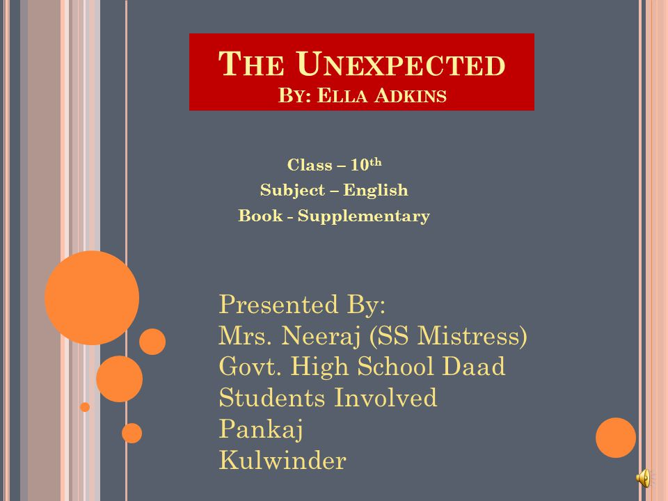 T HE U NEXPECTED B Y : E LLA A DKINS Class – 10 th Subject – English Book - Supplementary Presented By: Mrs.