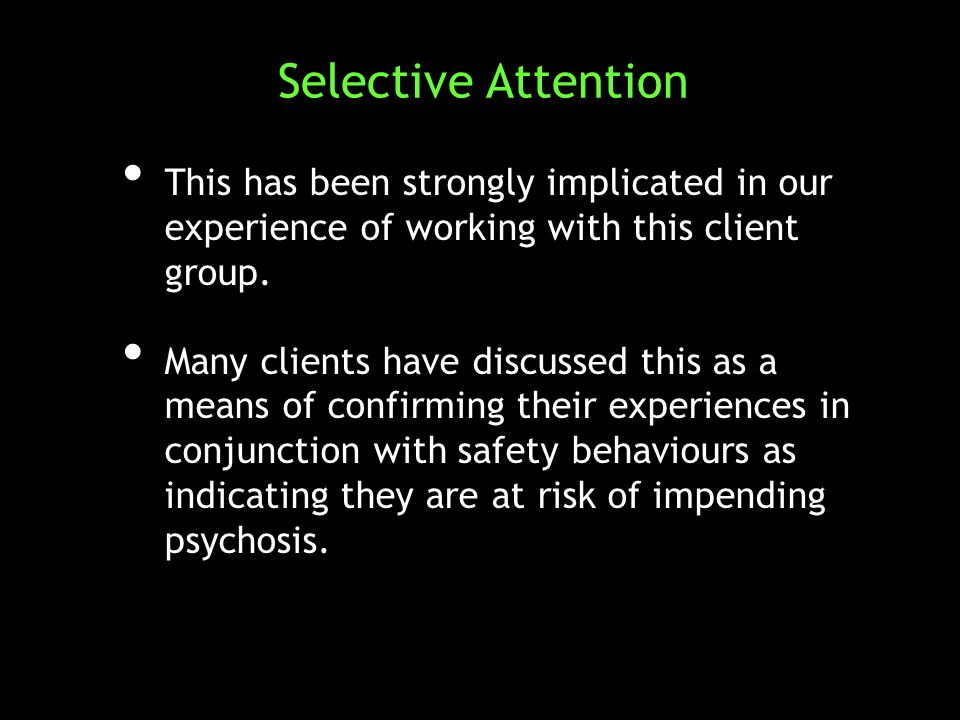 This has been strongly implicated in our experience of working with this client group.