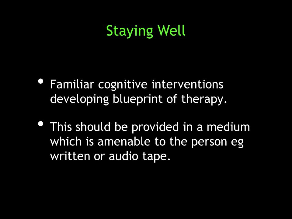 Familiar cognitive interventions developing blueprint of therapy.