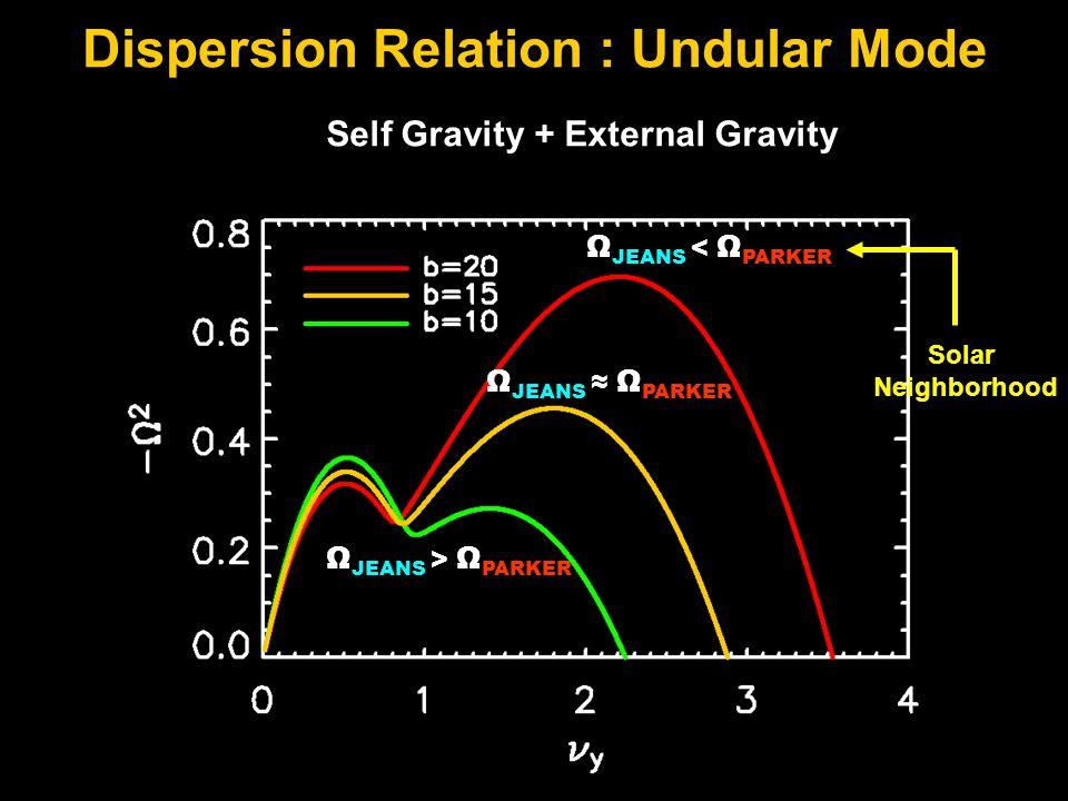 Dispersion Relation : Undular Mode Ω JEANS < Ω PARKER Ω JEANS > Ω PARKER Ω JEANS ≈ Ω PARKER Self Gravity + External Gravity Solar Neighborhood