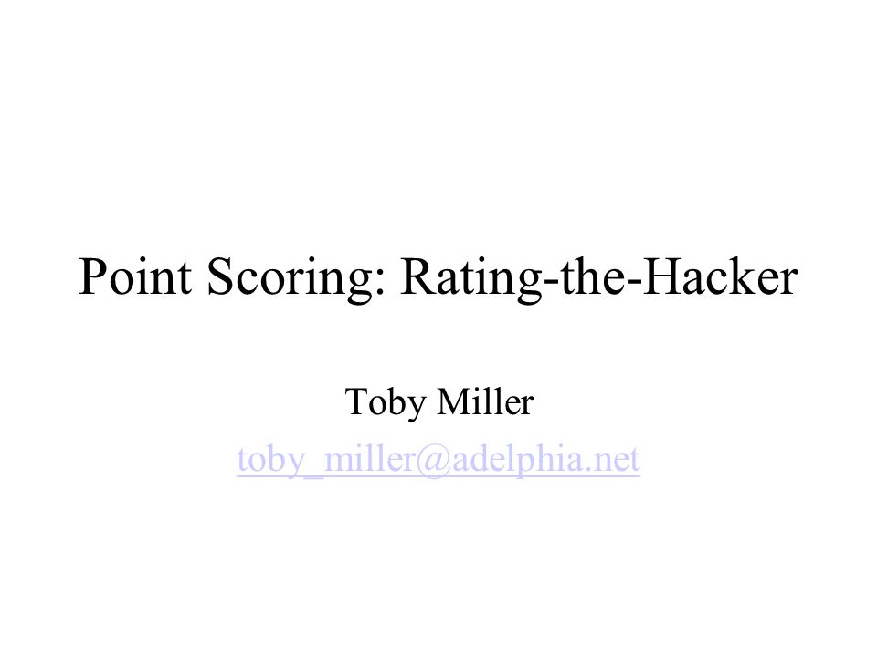 Point Scoring: Why.