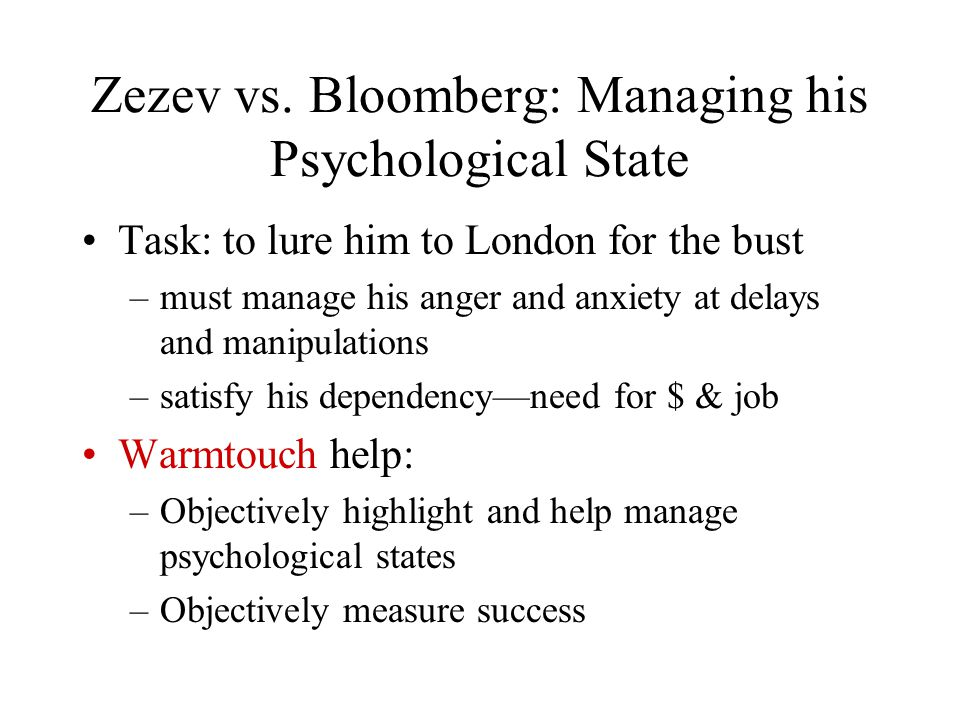 Zezev vs. Bloomberg: Managing his Psychological State Task: to lure him to London for the bust –must manage his anger and anxiety at delays and manipu