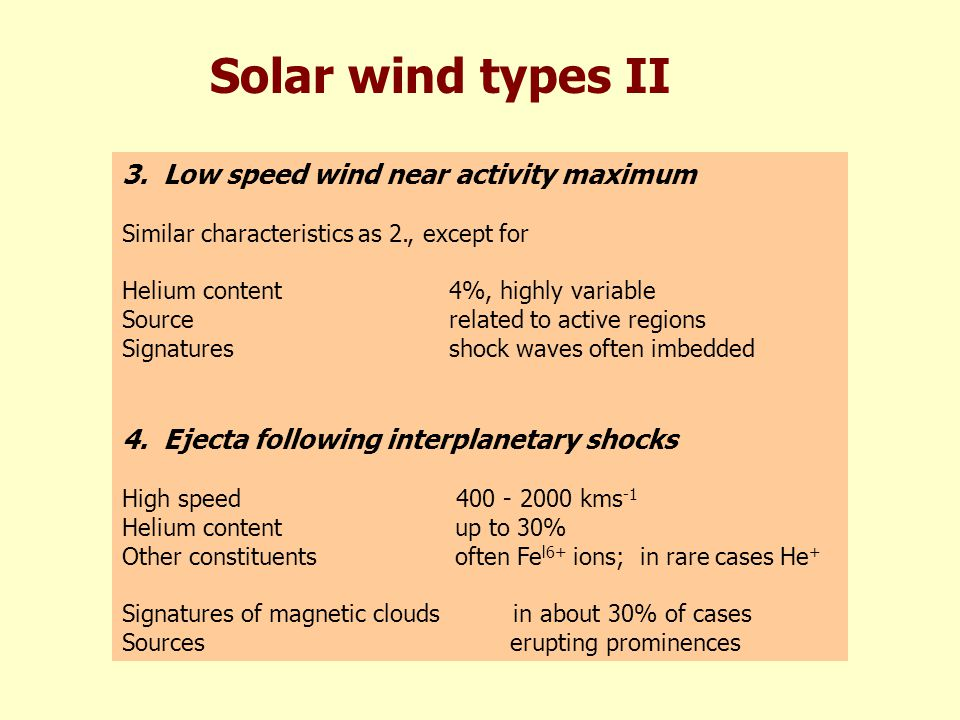 Solar wind types II 3.