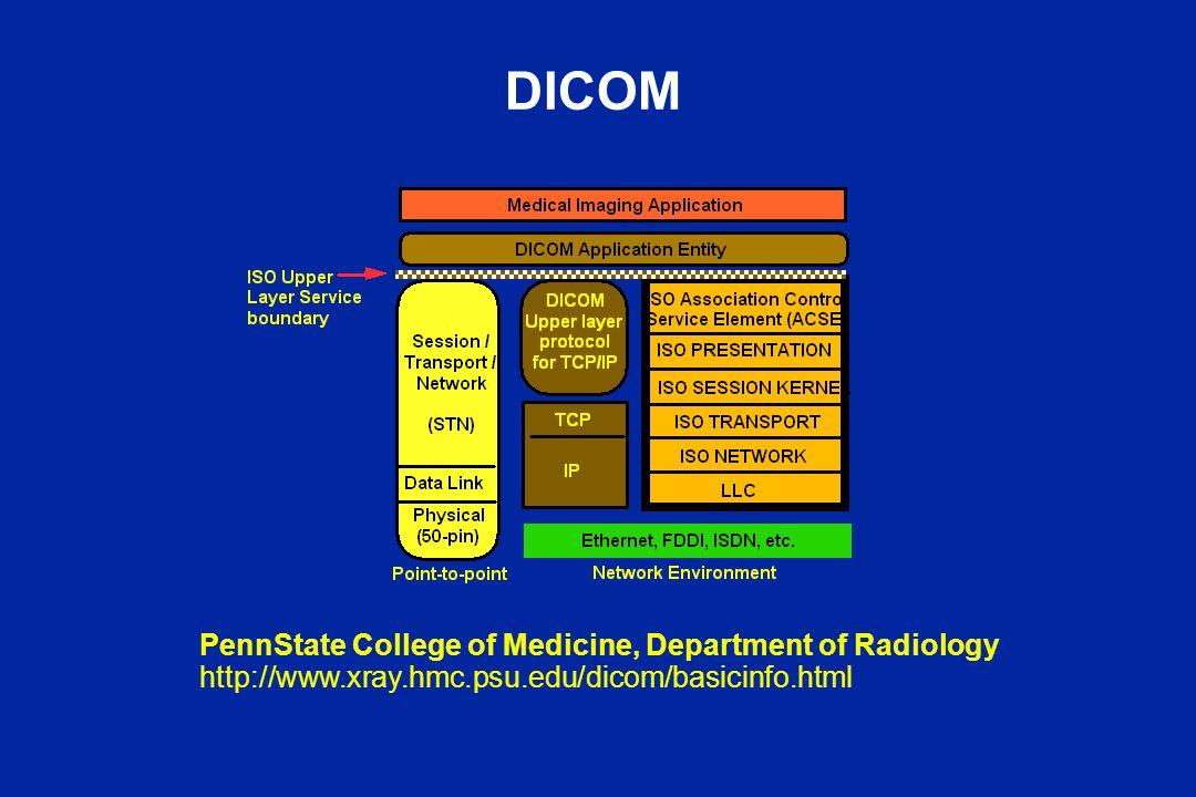 DICOM PennState College of Medicine, Department of Radiology http://www.xray.hmc.psu.edu/dicom/basicinfo.html