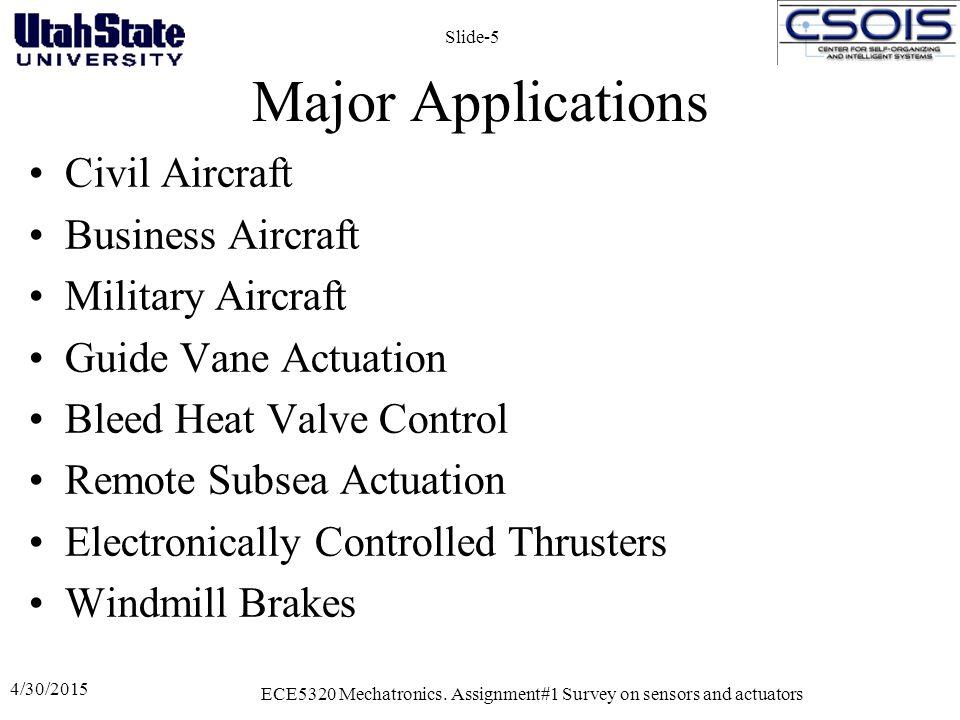 4/30/2015 ECE5320 Mechatronics. Assignment#1 Survey on sensors and actuators Slide-5 Major Applications Civil Aircraft Business Aircraft Military Airc