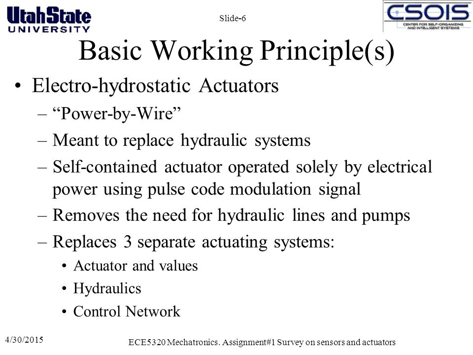 """Basic Working Principle(s) Electro-hydrostatic Actuators –""""Power-by-Wire"""" –Meant to replace hydraulic systems –Self-contained actuator operated solely"""