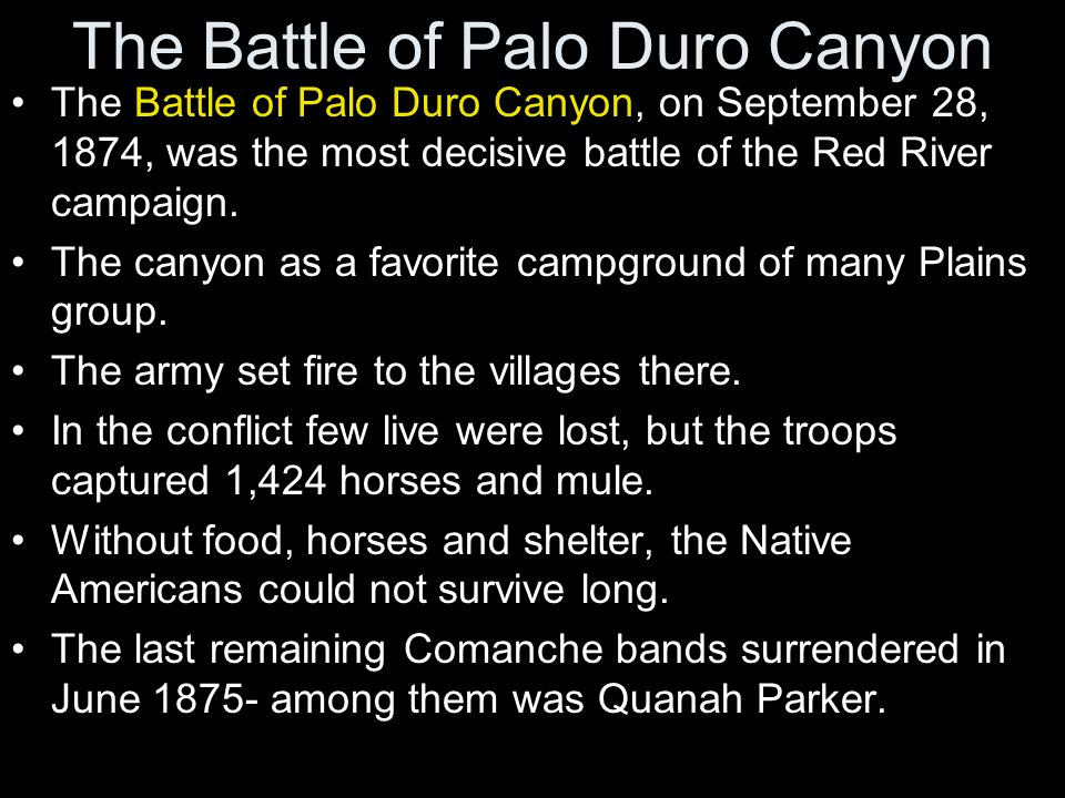 The Battle of Palo Duro Canyon The Battle of Palo Duro Canyon, on September 28, 1874, was the most decisive battle of the Red River campaign. The cany