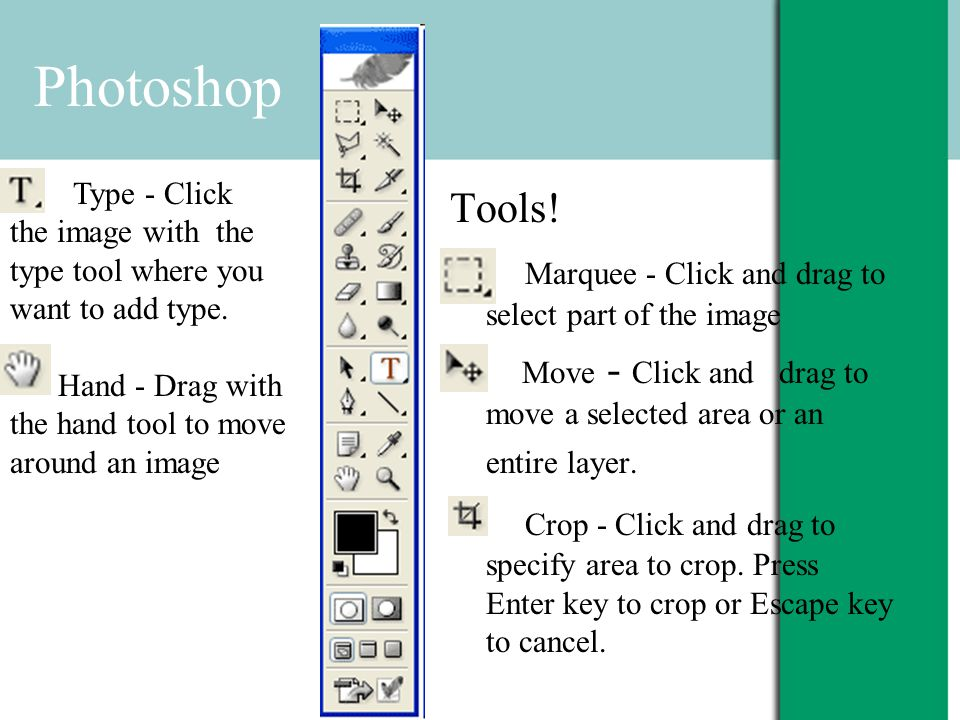 Tools! Marquee - Click and drag to select part of the image Move - Click and drag to move a selected area or an entire layer. Crop - Click and drag to