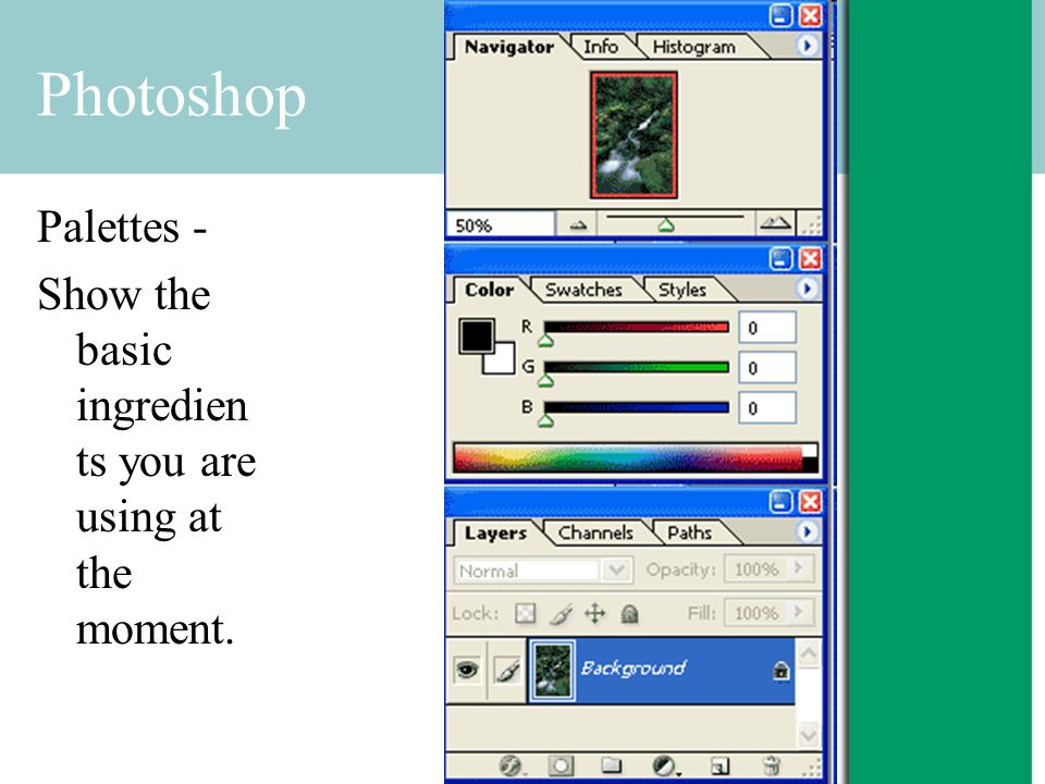 Photoshop Palettes - Show the basic ingredien ts you are using at the moment.