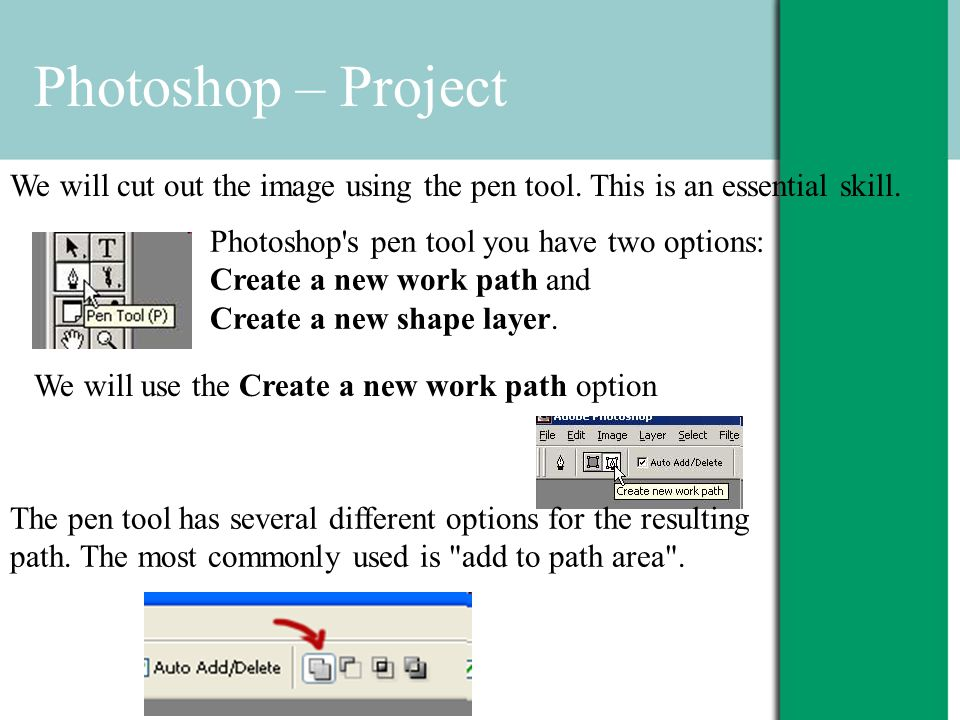 Photoshop – Project We will cut out the image using the pen tool.