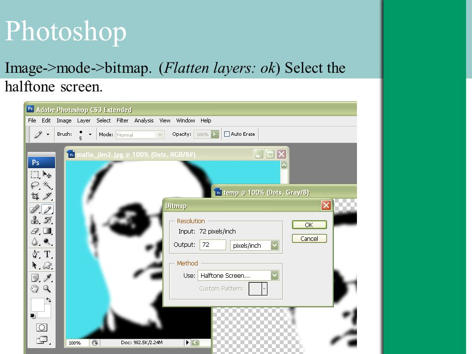 Photoshop Image->mode->bitmap. (Flatten layers: ok) Select the halftone screen.