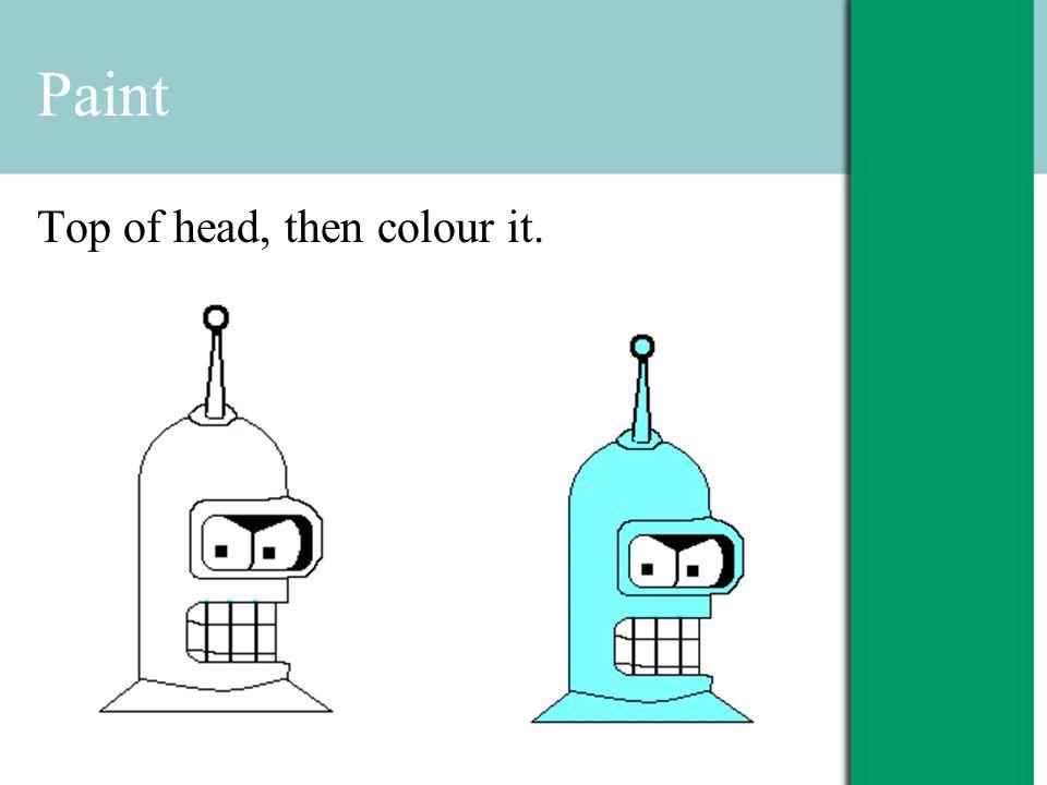 Paint Top of head, then colour it.