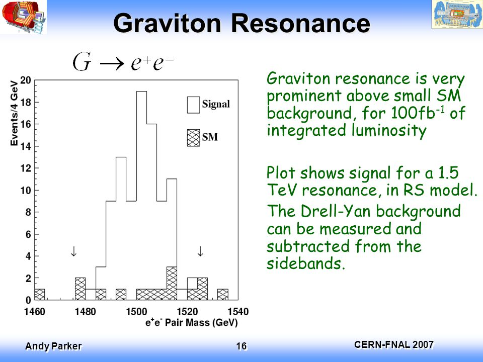 CERN-FNAL 2007 Andy Parker 16 Graviton Resonance Graviton resonance is very prominent above small SM background, for 100fb -1 of integrated luminosity Plot shows signal for a 1.5 TeV resonance, in RS model.