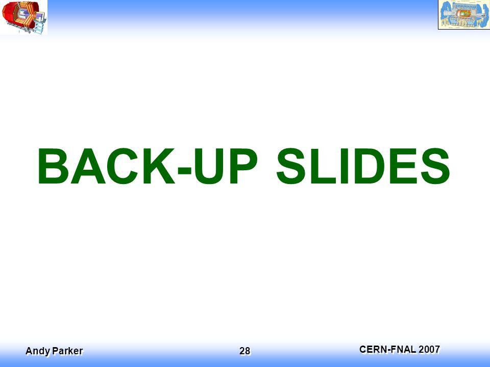 CERN-FNAL 2007 Andy Parker 28 BACK-UP SLIDES