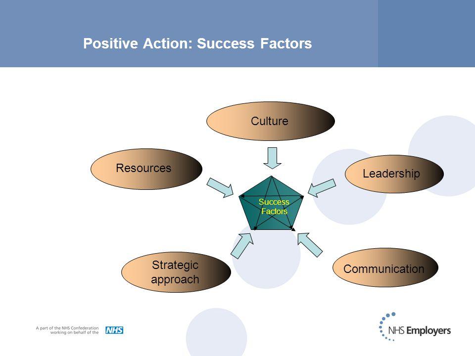 Positive Action: Success Factors Success Factors Resources Leadership Communication Strategic approach Culture
