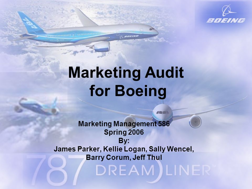 Marketing Audit for Boeing Marketing Management 586 Spring 2006 By: James Parker, Kellie Logan, Sally Wencel, Barry Corum, Jeff Thul