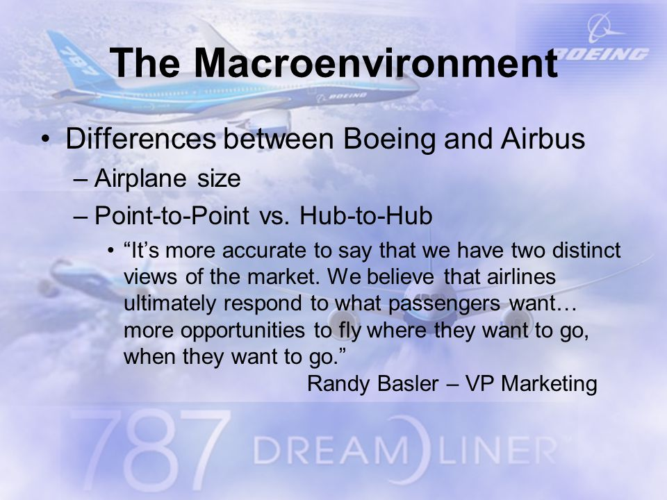 The Macroenvironment Differences between Boeing and Airbus –Airplane size –Point-to-Point vs.