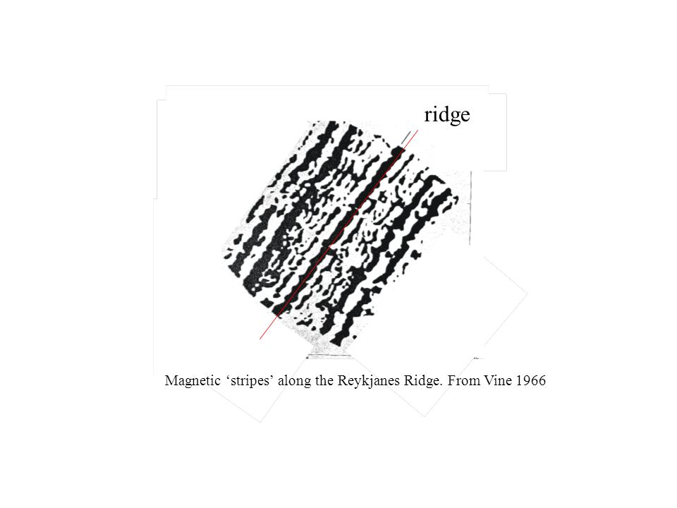 Magnetic 'stripes' along the Reykjanes Ridge. From Vine 1966 ridge