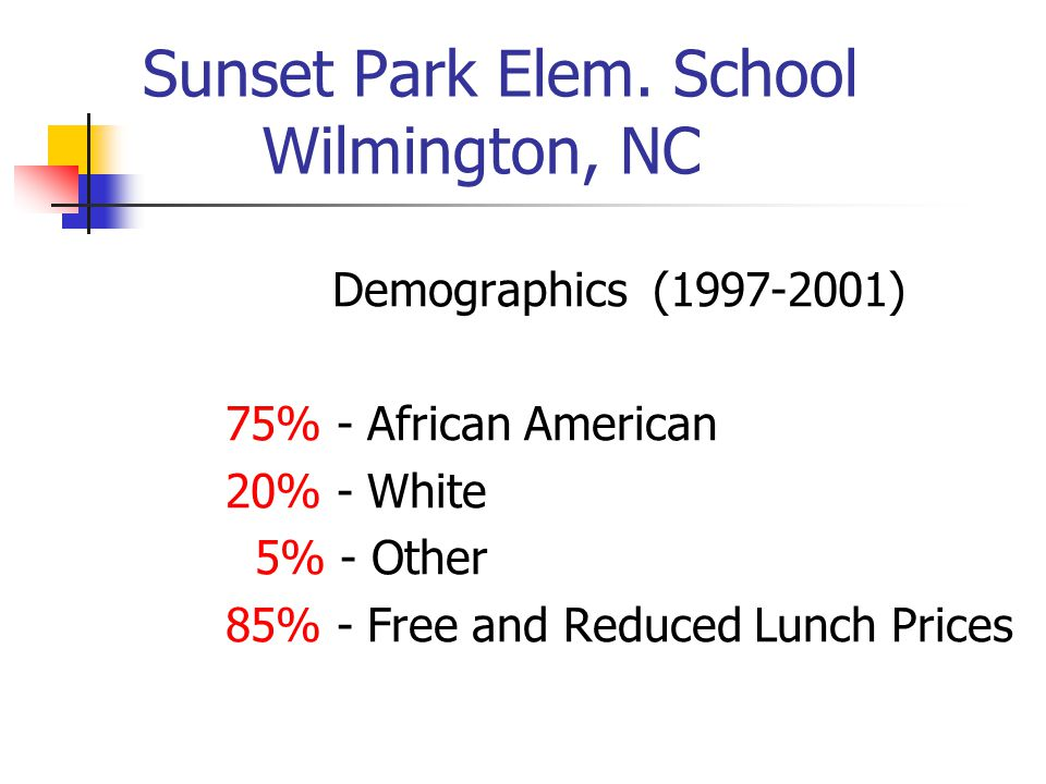 Sunset Park Elementary At the close of the 1997 school year……..