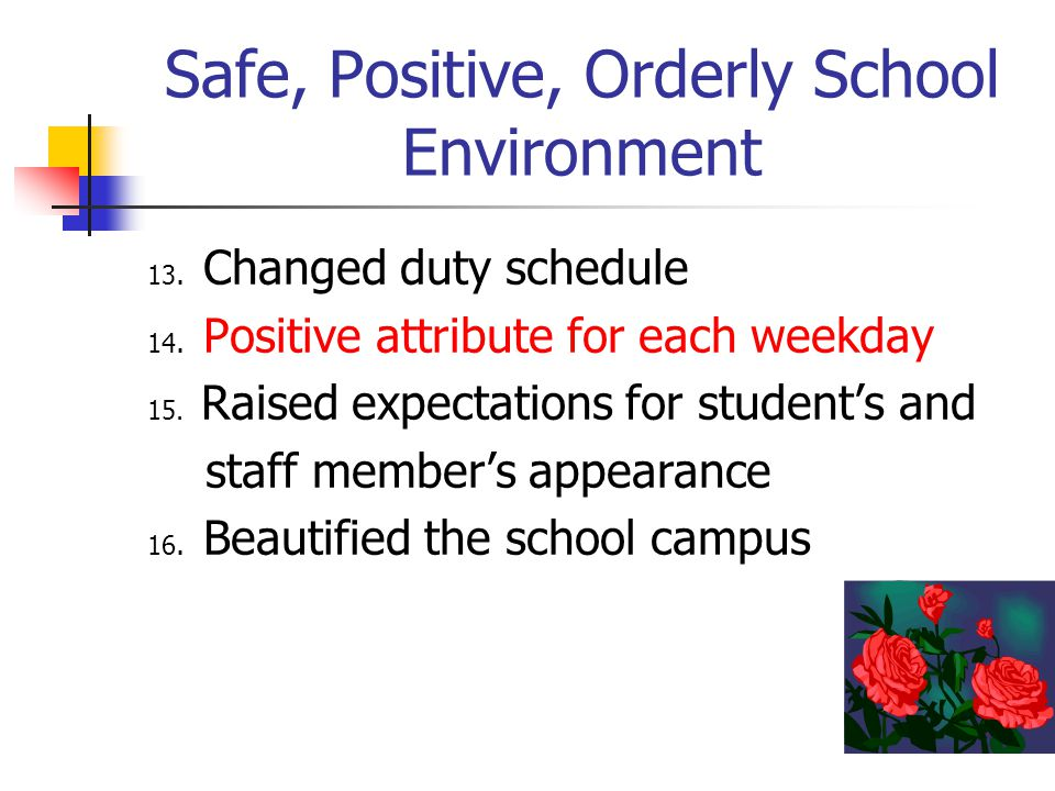 Safe, Positive, Orderly School Environment 13. Changed duty schedule 14. Positive attribute for each weekday 15. Raised expectations for student's and