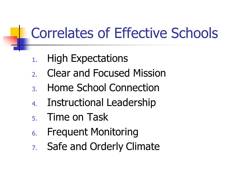 Correlates of Effective Schools 1. High Expectations 2. Clear and Focused Mission 3. Home School Connection 4. Instructional Leadership 5. Time on Tas