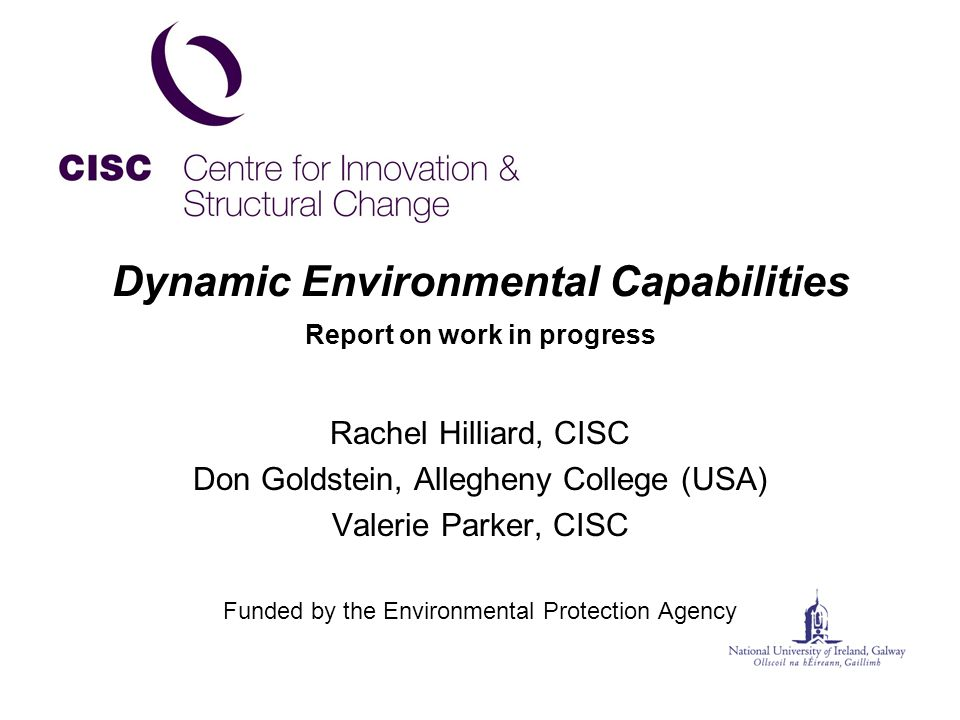 Dynamic Environmental Capabilities Report on work in progress Rachel Hilliard, CISC Don Goldstein, Allegheny College (USA) Valerie Parker, CISC Funded by the Environmental Protection Agency