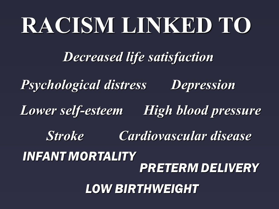 RACISM LINKED TO Decreased life satisfaction PRETERM DELIVERY LOW BIRTHWEIGHT INFANT MORTALITY Cardiovascular disease Stroke High blood pressure Psych