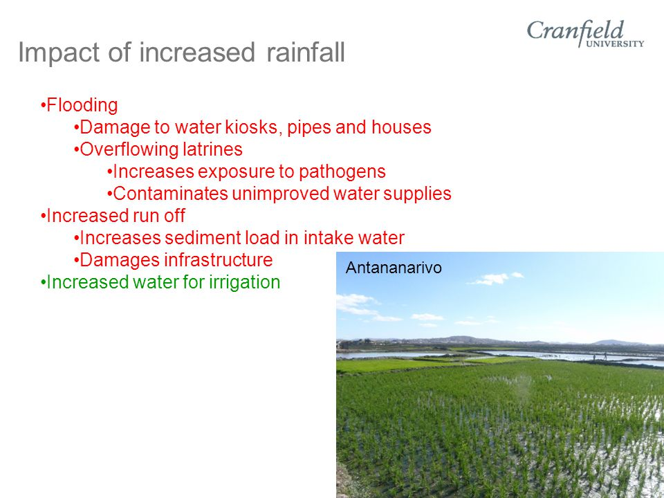 Impact of increased rainfall Flooding Damage to water kiosks, pipes and houses Overflowing latrines Increases exposure to pathogens Contaminates unimproved water supplies Increased run off Increases sediment load in intake water Damages infrastructure Increased water for irrigation Antananarivo