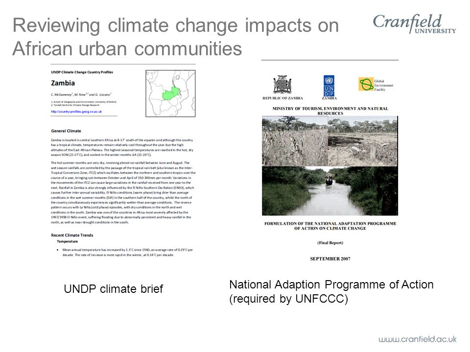 Reviewing climate change impacts on African urban communities UNDP climate brief National Adaption Programme of Action (required by UNFCCC)