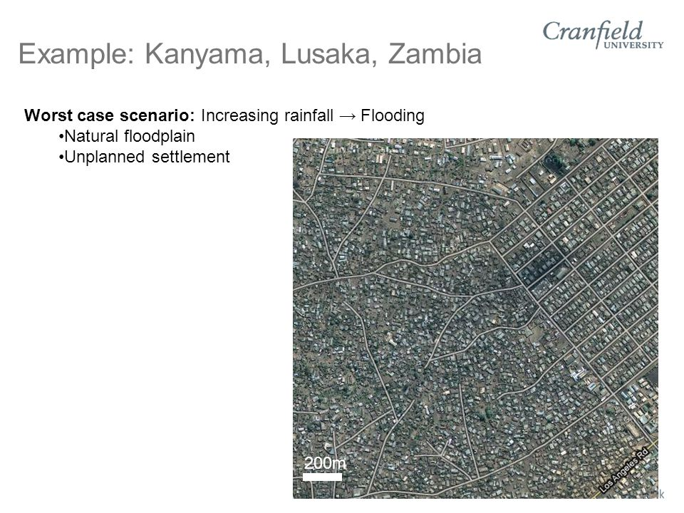 Example: Kanyama, Lusaka, Zambia Worst case scenario: Increasing rainfall → Flooding Natural floodplain Unplanned settlement 200m