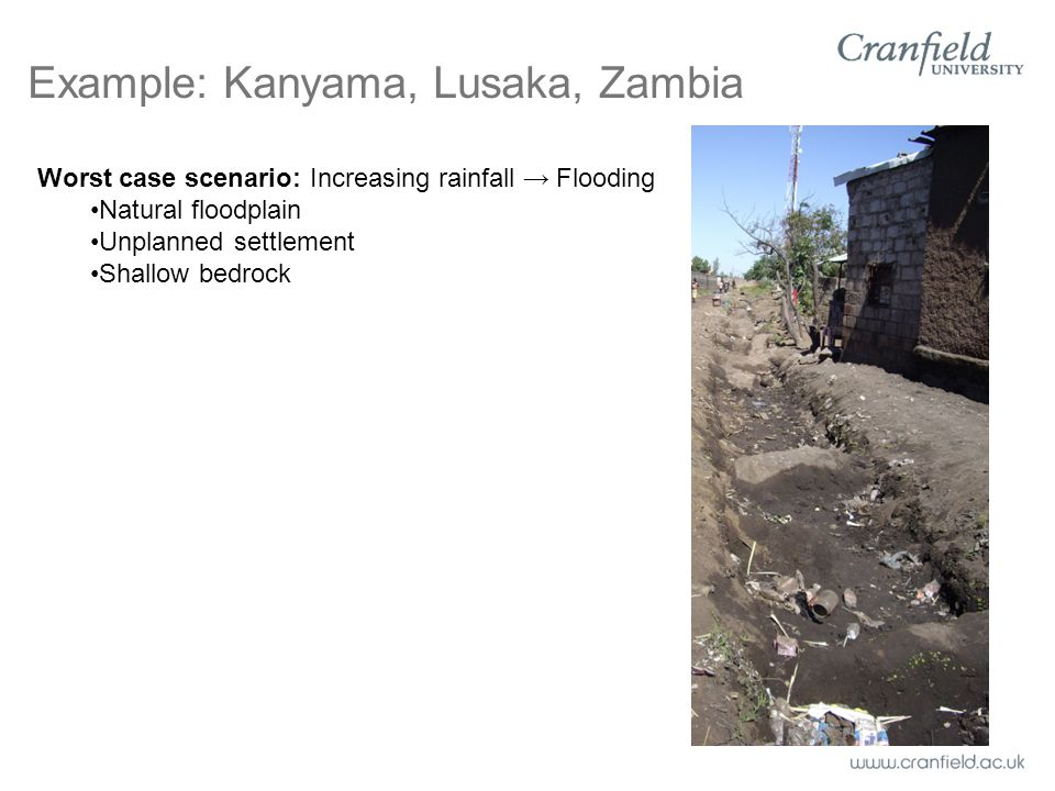Worst case scenario: Increasing rainfall → Flooding Natural floodplain Unplanned settlement Shallow bedrock Example: Kanyama, Lusaka, Zambia