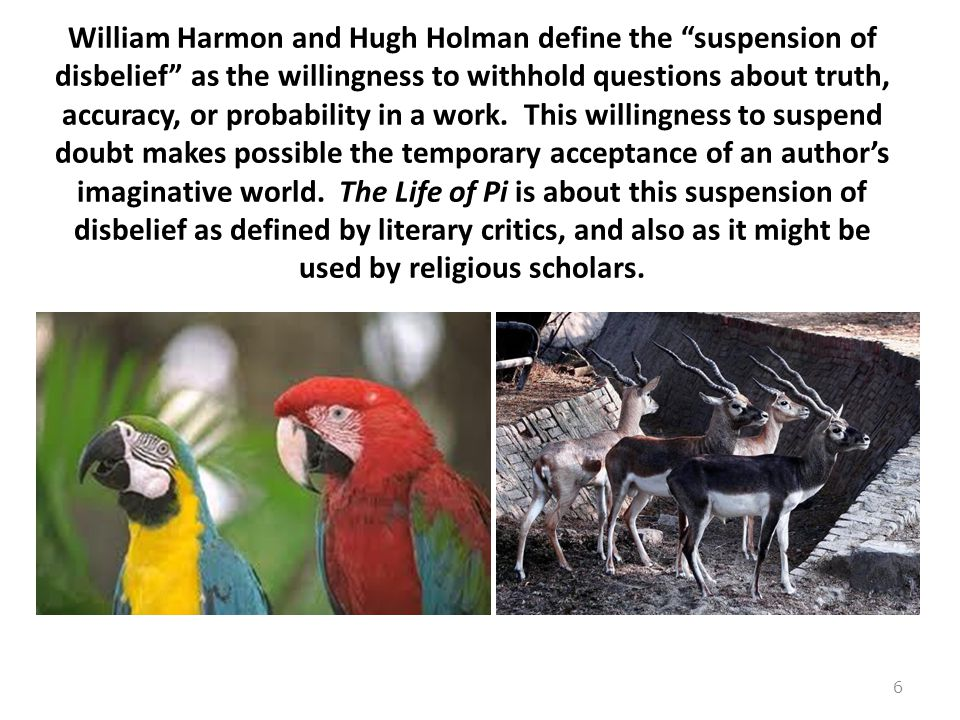 William Harmon and Hugh Holman define the suspension of disbelief as the willingness to withhold questions about truth, accuracy, or probability in a work.