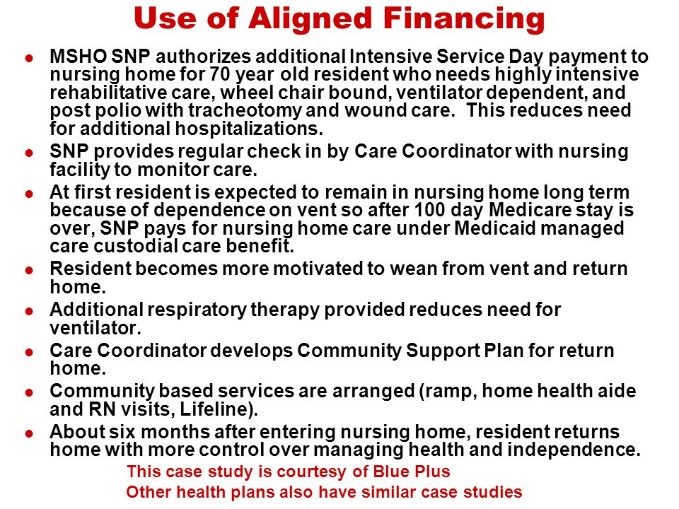 Use of Aligned Financing MSHO SNP authorizes additional Intensive Service Day payment to nursing home for 70 year old resident who needs highly intens