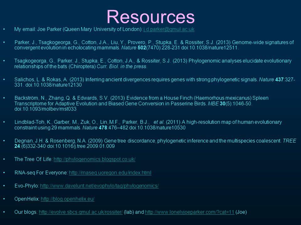 Resources My email: Joe Parker (Queen Mary University of London): j.d.parker@qmul.ac.ukj.d.parker@qmul.ac.uk Parker, J., Tsagkogeorga, G., Cotton, J.A