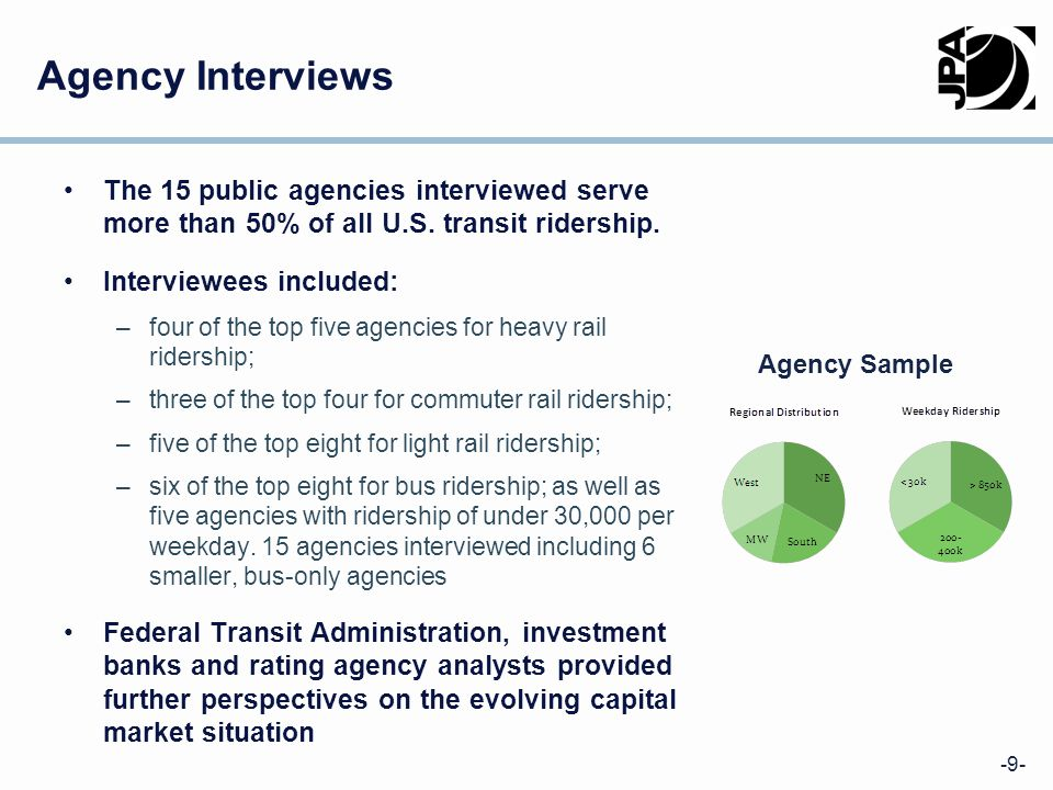 -9- Agency Interviews The 15 public agencies interviewed serve more than 50% of all U.S.